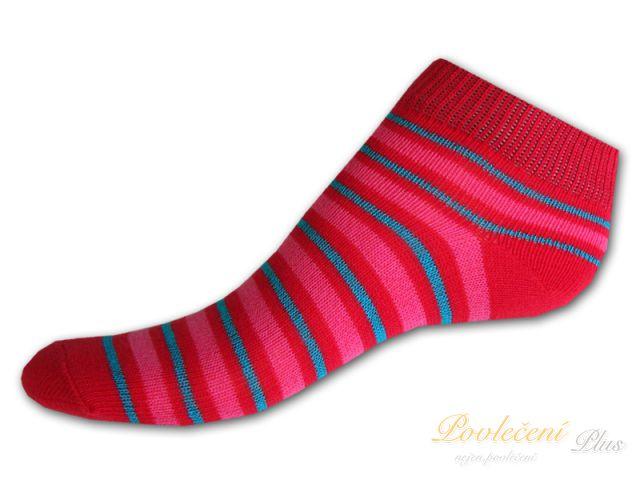 fce96fa986b Dětské nízké ponožky Červenotyrkysový proužek 19 21