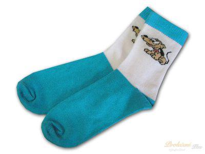 fa3937fbb1c Dětské bavlněné ponožky Pejsek tyrkysový 19 21