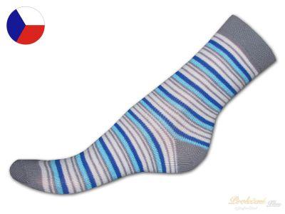 619e111de3b Dětské bavlněné ponožky Proužky modrošedé 19 21